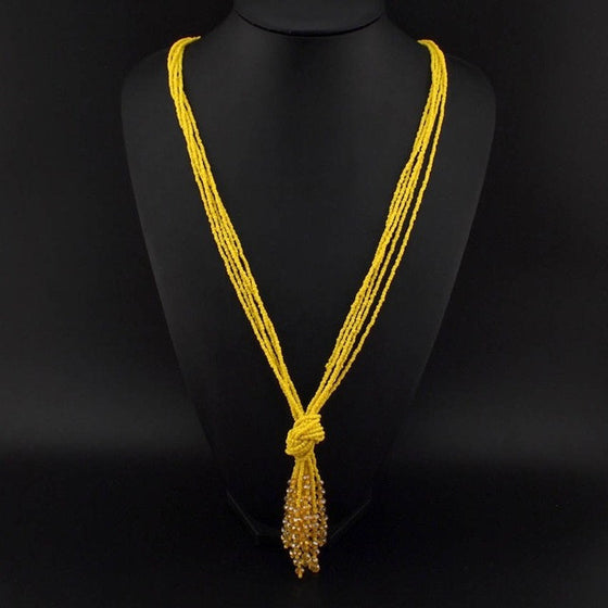 Acrylic Beads Tassels Necklace