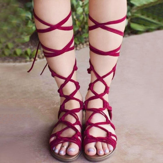 Knee High Gladiator Hot Women Shoes