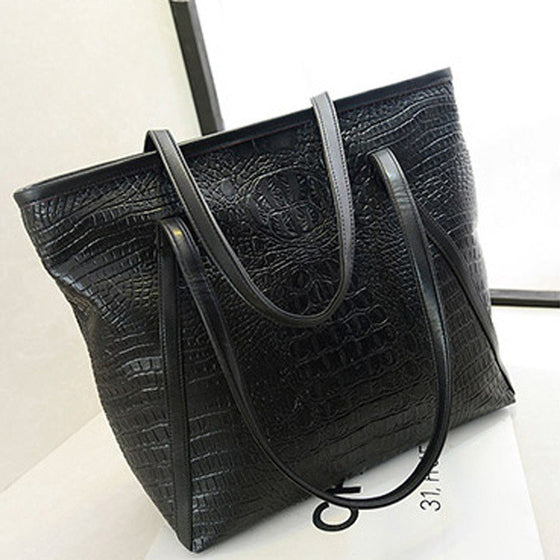 Women Crocodile PU Leather Large Handbag