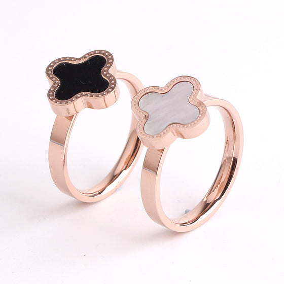 Black Shell Rose Plated Ring
