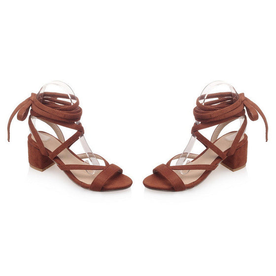 Square Heels Gladiator Women Sandals - SexyBling