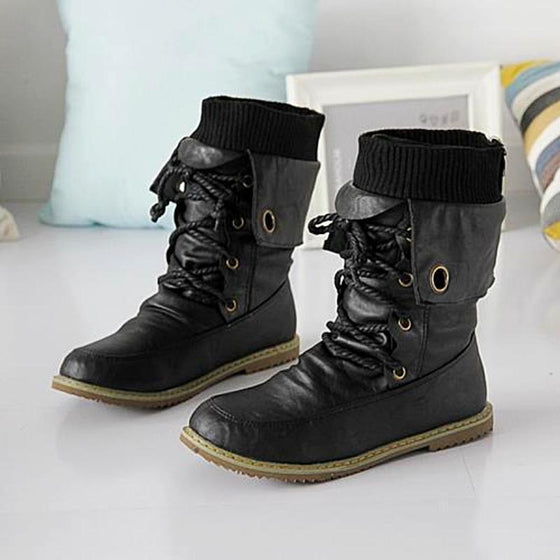 Women Motorcylce Boots Leather - SexyBling