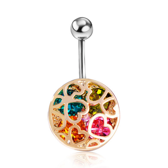 Heart Crystal Belly Ring - SexyBling
