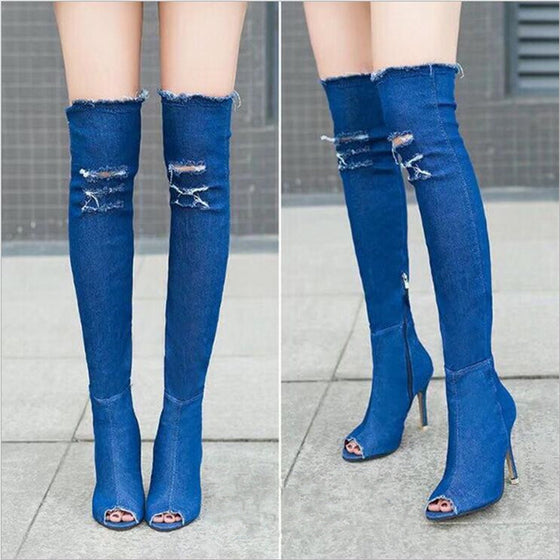 Dominant Denim Over the Knee Boots - SexyBling