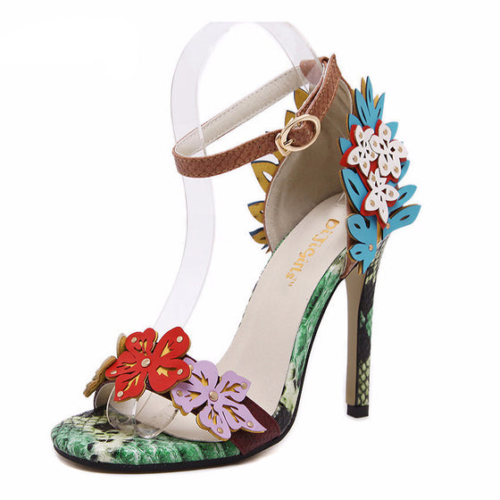 Floral Flower Ankle-Strap Heels - SexyBling