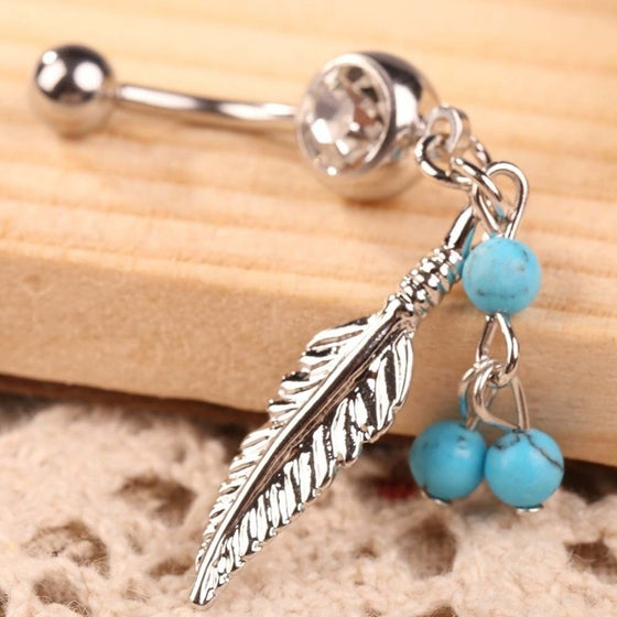 Sparkling Feather Belly Ring - SexyBling