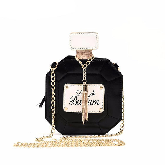 Perfume Bottle Leather Chain Clutch
