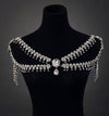 Crystal Flower Shoulder Necklace - SexyBling