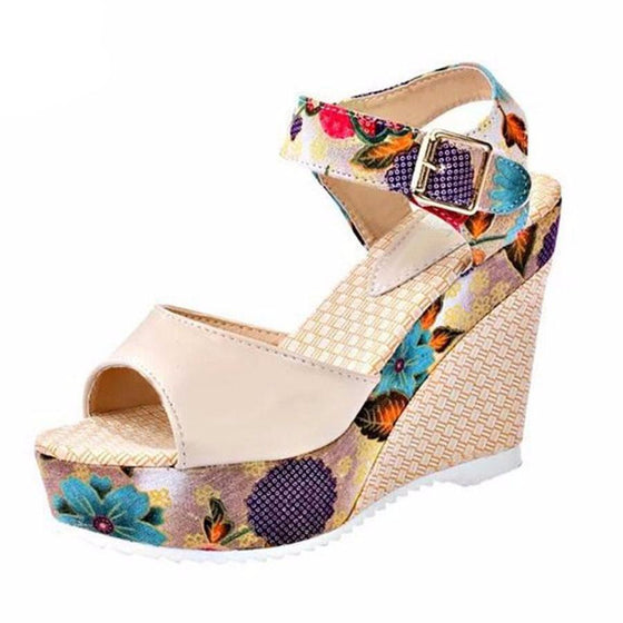 Sexy High Wedge Heel Thick Crust Flower Sandals - SexyBling