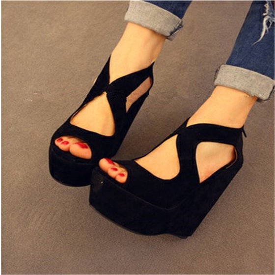 High-Heeled Classic Lacing Open Toe Platform Wedges Shoes