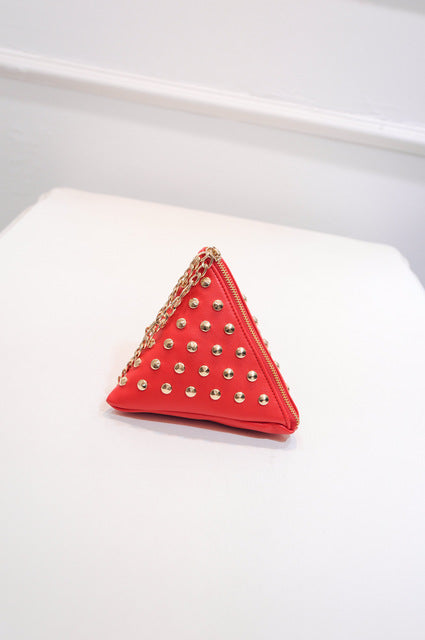 Lovely Leather Triangle Rivet Clutch