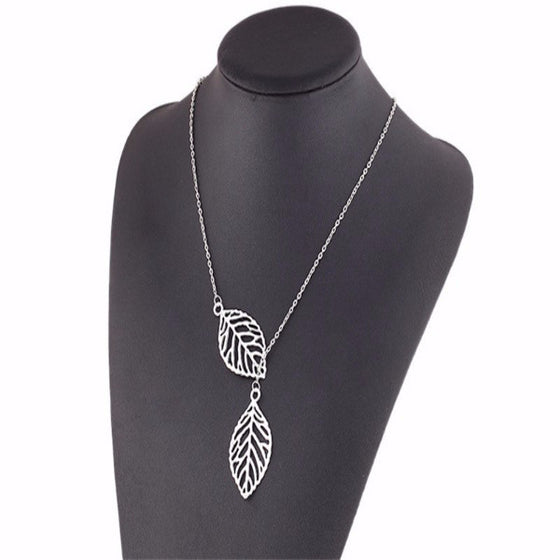 Punk Gold Silver Hollow Two Leaves Necklace