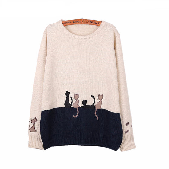 Cat Pattern Pullover Sweater
