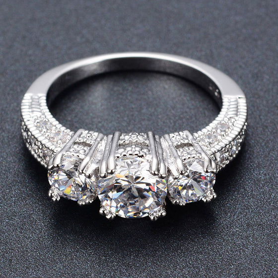 New Silver Crystal Wedding Ring for Women