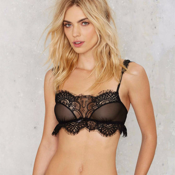 Hot Mesh Trangle Embroided Bra