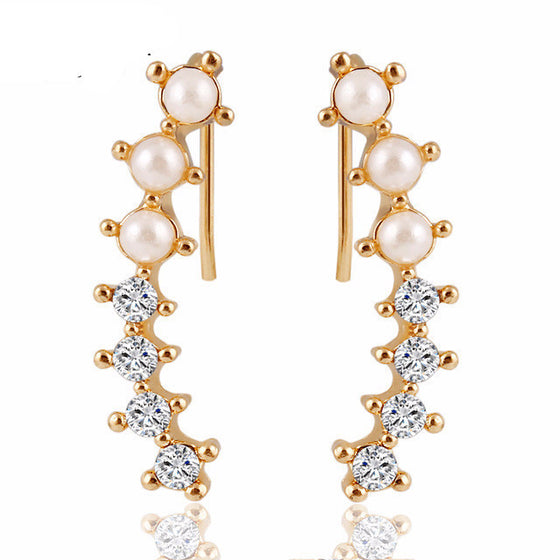 Pearl Crystal 6 Beads Earrings
