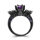 Black Skull Amethyst Ring