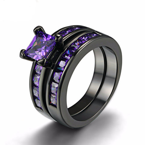 Two Band Amethyst Ring Set