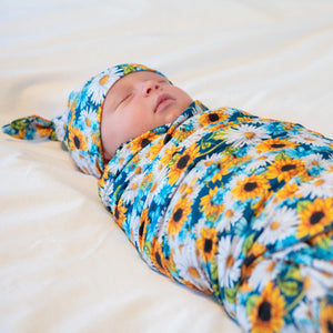 bumblito - stretch swaddle set - Hello, Sunshine - sunflower print newborn stretch swaddle
