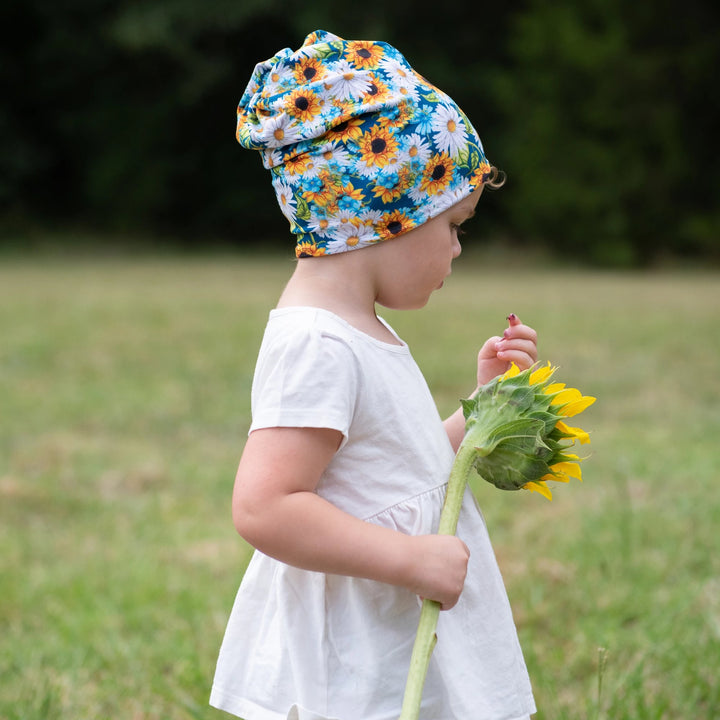 bumblito - toddler beanie - Hello, Sunshine - sunflower print toddler slouch beanie