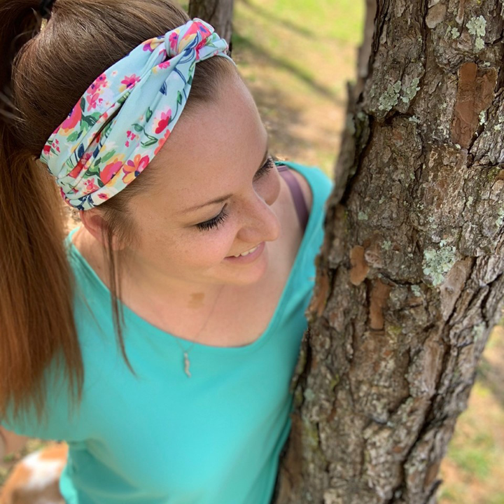 bumblito - adult headband - Aqua Floral adult headband - Floral print stretchy headband - matching kids and adult headband