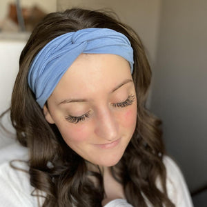 bumblito - adult headband - Chambray - light blue lightweight stretchy headband