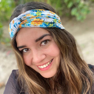 bumblito - adult headband - Sunflower print adult headband - stretchy knotted headband