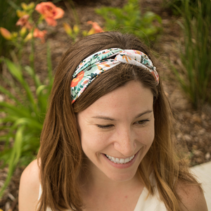 bumblito - adult headband - Ginny floral adult headband - Orange poppy flowers print stretchy headband - matching kids and adult headband
