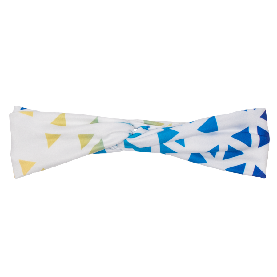 bumblito - adult headband - Prism print adult headband - rainbow colors triangles soccer print stretchy headband - matching kids and adult headband