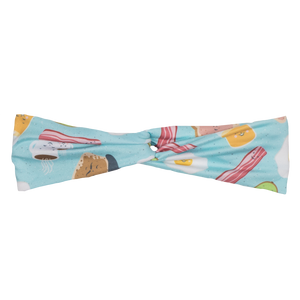 bumblito - adult headband - Sunnyside - eggs and bacon breakfast stretchy adult headband