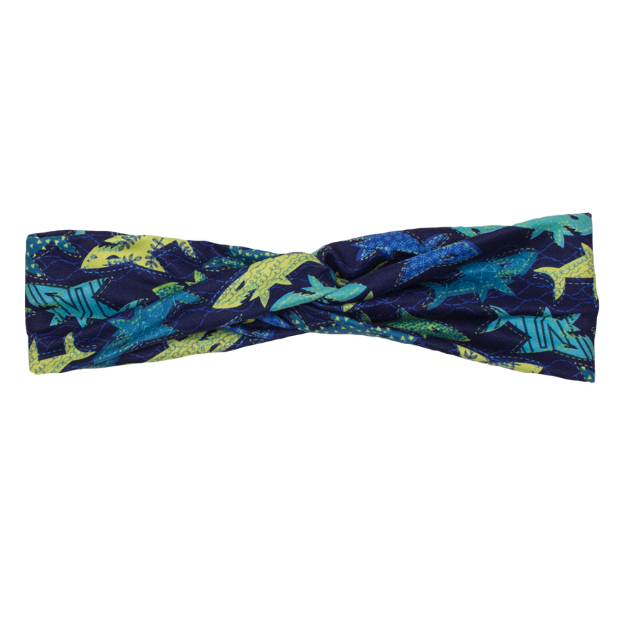 bumblito - adult headband - swim faster - shark print stretchy adult headband