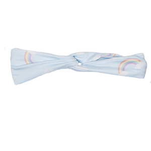bumblito - adult headband - Worth the Wait Adult Headband - stretchy adult size headband - light blue with rainbows print - mommy and me matching headbands