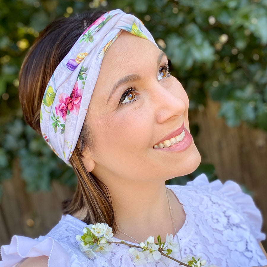 bumblito - adult headband - tea party - Tea Time print stretchy adult headband