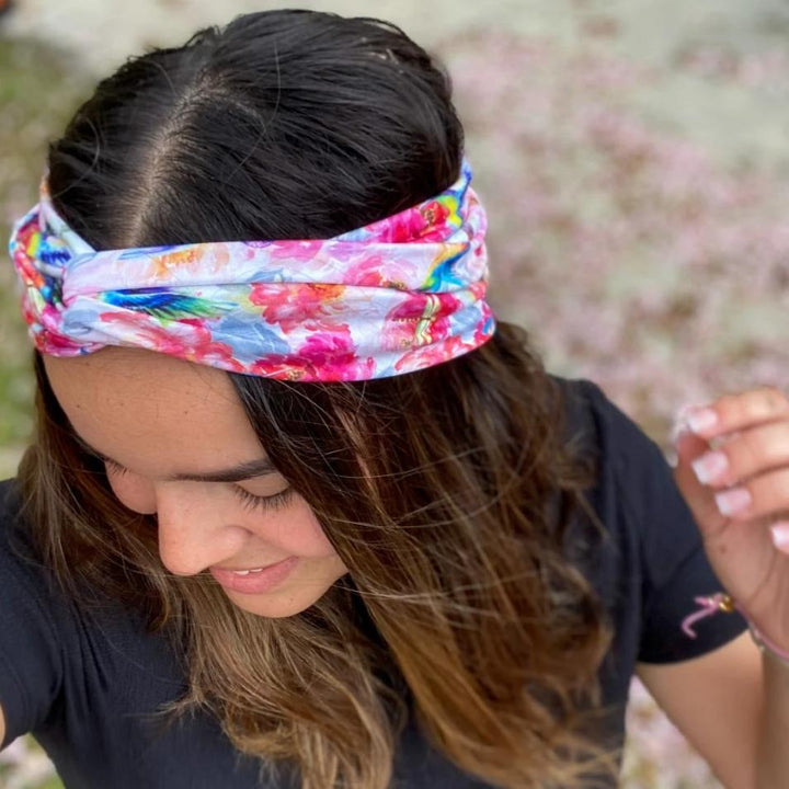 bumblito - adult headband - Shimmer hummingbird and pink floral tie top headband