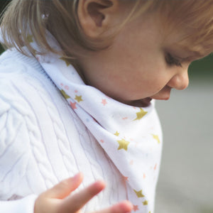bumblito - bandana bib - 100% cotton children's bib - Lullaby print - Starry night print - Made in the United States
