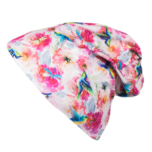 bumblito - Slouch Beanie - Shimmer hummingbird and pink floral slouch beanie