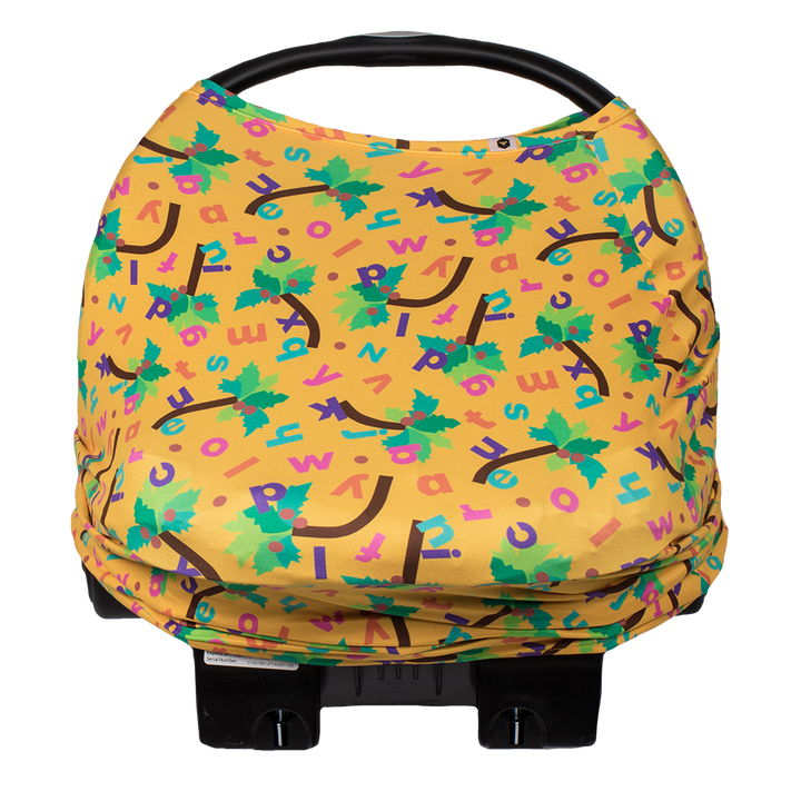 Bumblito - Bee Covered - Chicka Chicka Boom Boom - breast feeding cover - car seat cover - yellow stretchy car seat cover with alphabet letters