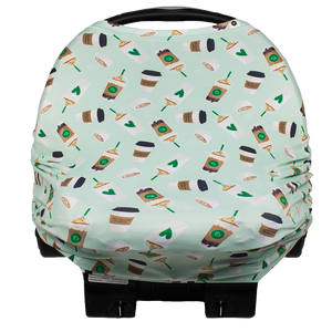bumblito - car seat cover - Daily Grind - Green coffee print car seat and breastfeeding cover