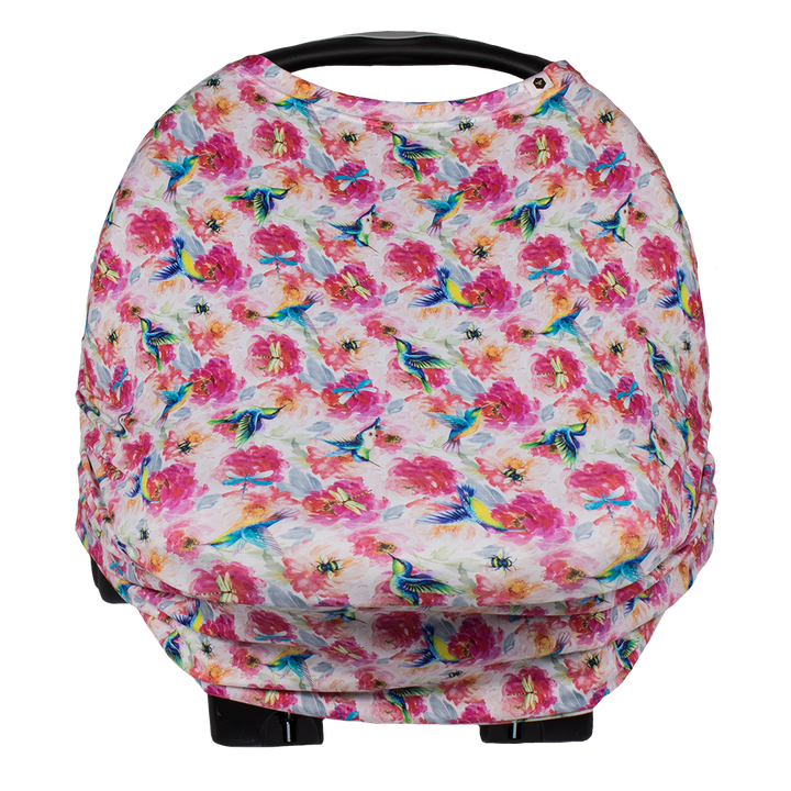 bumblito - Bee Covered - Car seat cover - breast feeding cover - stroller chair cover - Shimmer hummingbird and pink florals