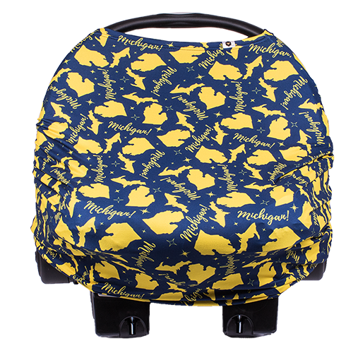 bumblito - bee covered - multi use cover - car seat cover - breast feeding cover - Michigan blue and gold color
