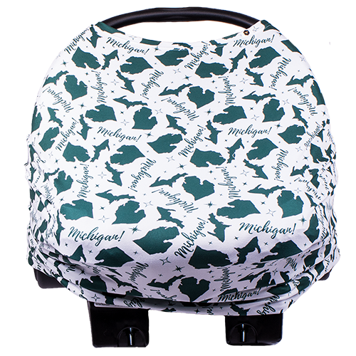 bumblito - bee covered - multi use cover - car seat cover - breast feeding cover - Michigan green and white print