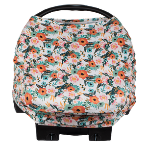 bumblito - bee covered car seat cover - Ginny print - Orange poppy floral print car seat cover - multi-use car seat cover - breastfeeding cover - stretchy car seat cover