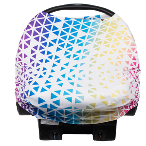 bumblito - bee covered car seat cover - Prism soccer print - rainbow colors soccer ball print car seat cover - multi-use car seat cover - breastfeeding cover - stretchy car seat cover
