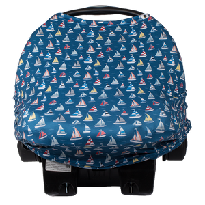 bumblito - bee covered car seat cover - Regatta print - blue sailboats print car seat cover - multi-use car seat cover - breastfeeding cover - stretchy car seat cover