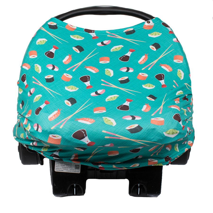 bumblito - bee covered car seat cover - You're My Soymate print - Teal green with sushi print car seat cover - multi-use car seat cover - breastfeeding cover - stretchy car seat cover