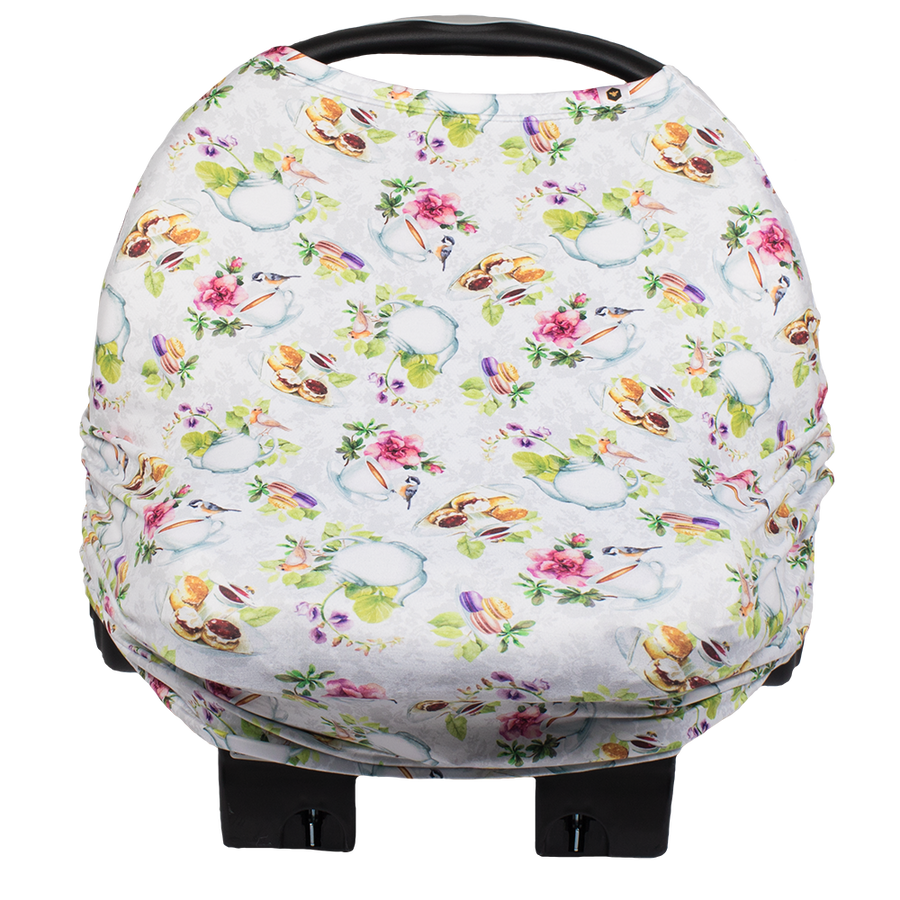 bumblito - bee covered car seat cover - Tea Party print - English tea time print car seat cover - multi-use car seat cover - breastfeeding cover - stretchy car seat cover