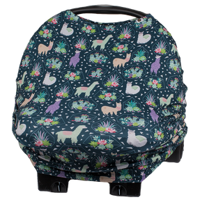 bumblito - bee covered car seat cover - Tina print - Fun llama and succulent print car seat cover - multi-use car seat cover - breastfeeding cover - stretchy car seat cover