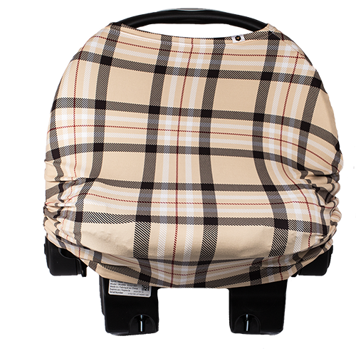bumblito - bee covered car seat cover - Uptown print - classy tan plaid print car seat cover - multi-use car seat cover - black and tan plaid car seat cover - breastfeeding cover - stretchy car seat cover