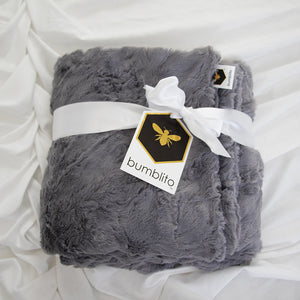 Baby Bee Luxe Blanket Plush - Graphite