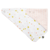 Soft organic cotton offers an absorbent, stylish, fun bib in Lullaby star print